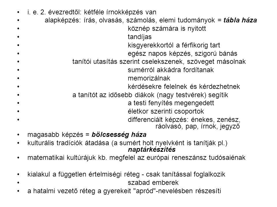 i. e. 2. évezredtől: kétféle írnokképzés van