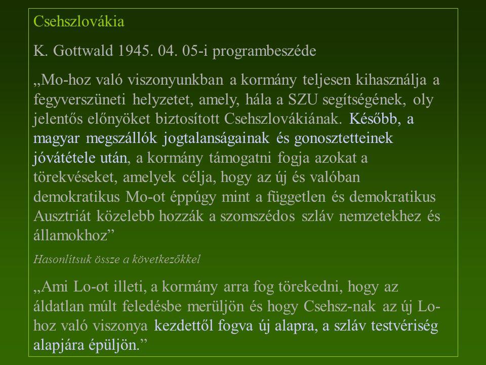 K. Gottwald 1945. 04. 05-i programbeszéde