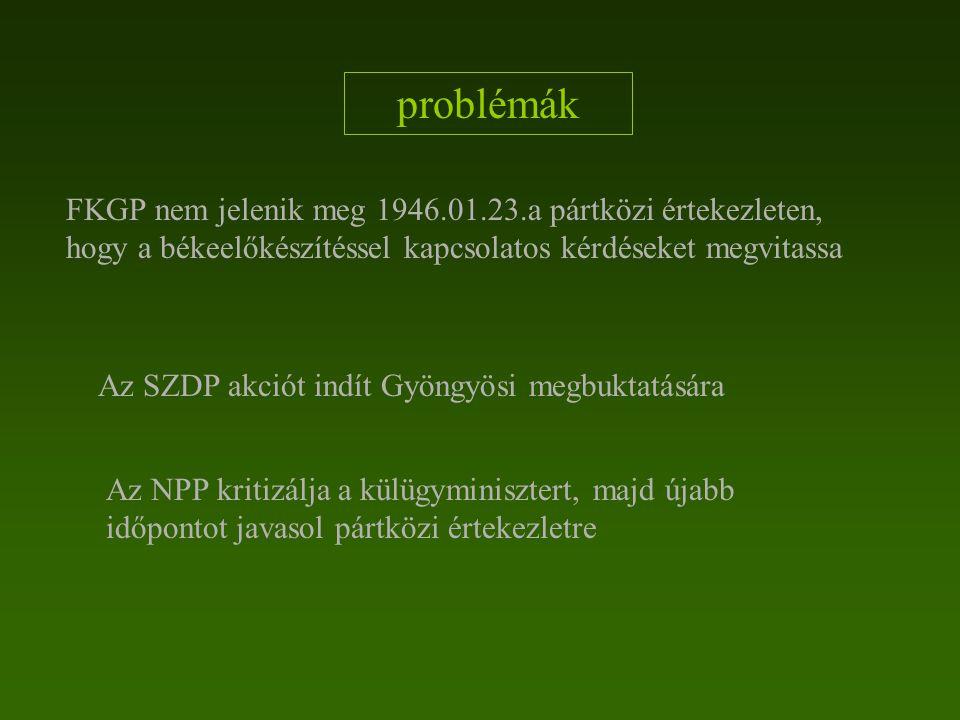 problémák FKGP nem jelenik meg 1946.01.23.a pártközi értekezleten, hogy a békeelőkészítéssel kapcsolatos kérdéseket megvitassa.