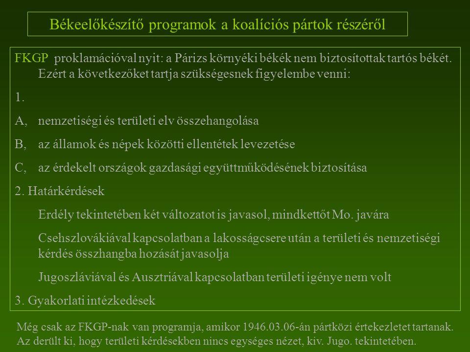 Békeelőkészítő programok a koalíciós pártok részéről