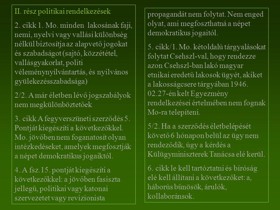 II. rész politikai rendelkezések