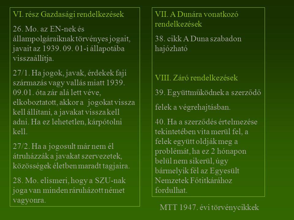 VI. rész Gazdasági rendelkezések