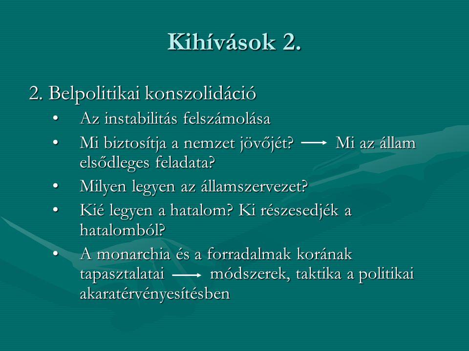 Kihívások 2. 2. Belpolitikai konszolidáció