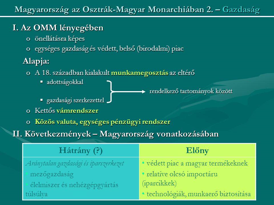 Magyarország az Osztrák-Magyar Monarchiában 2. – Gazdaság