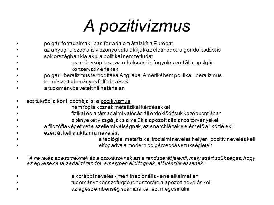 A pozitivizmus polgári forradalmak, ipari forradalom átalakítja Európát.