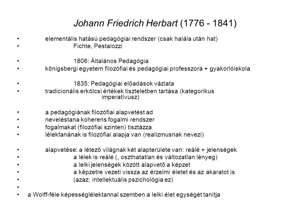 Johann Friedrich Herbart (1776 - 1841)