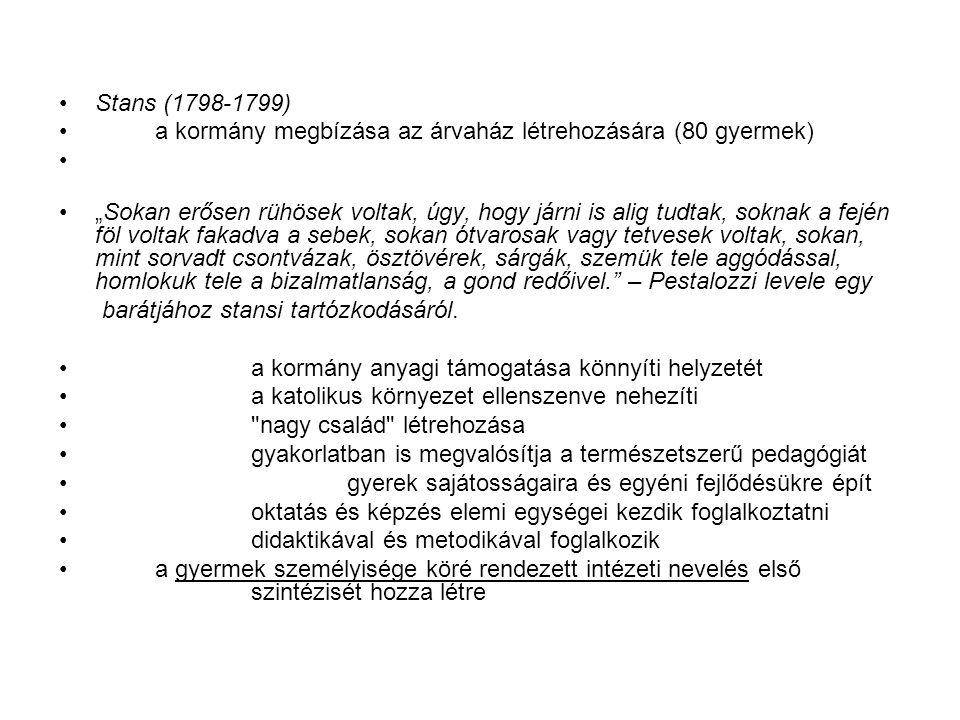 Stans (1798-1799) a kormány megbízása az árvaház létrehozására (80 gyermek)
