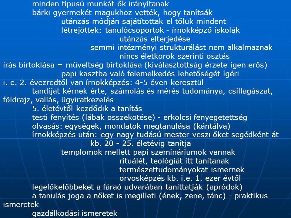 az államapparátus működtetői: írnokok