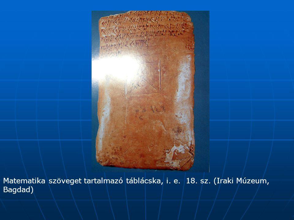 Matematika szöveget tartalmazó táblácska, i. e. 18. sz