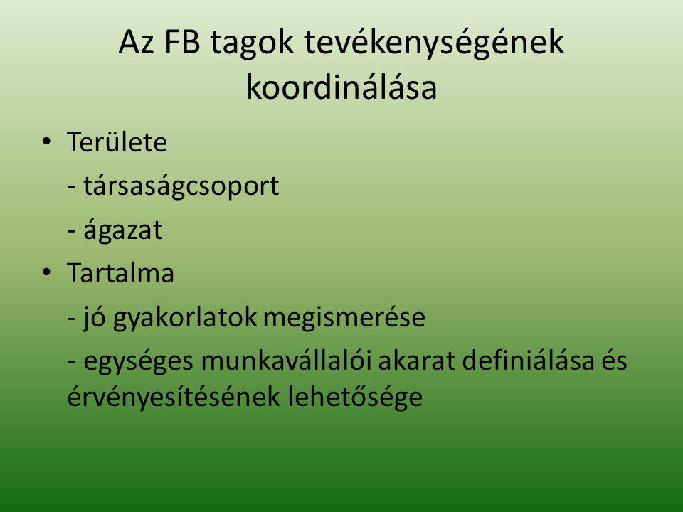 Az FB tagok tevékenységének koordinálása