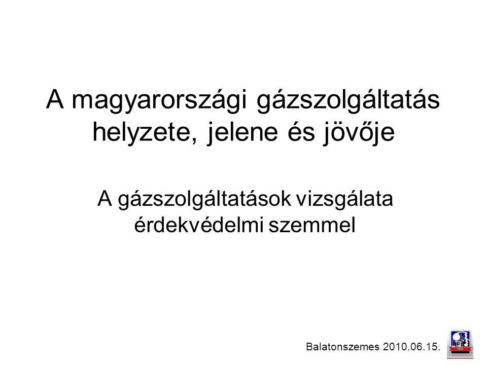 A magyarországi gázszolgáltatás helyzete, jelene és jövője