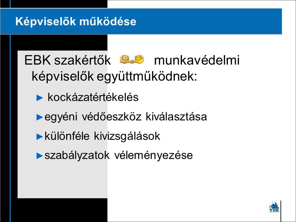 EBK szakértők munkavédelmi képviselők együttműködnek: