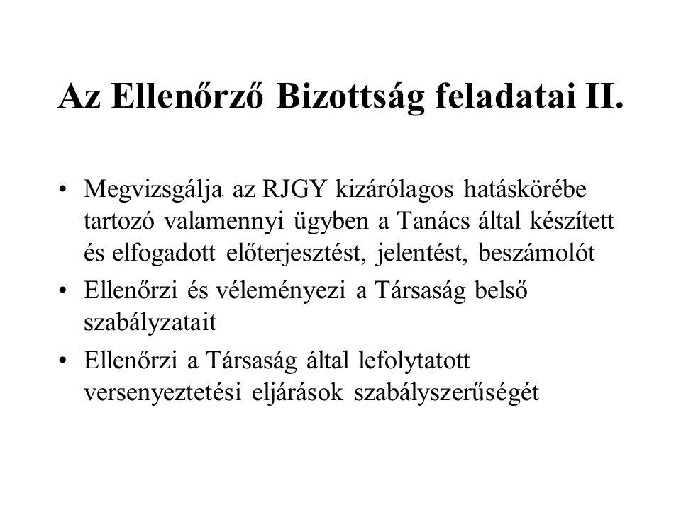Az Ellenőrző Bizottság feladatai II.