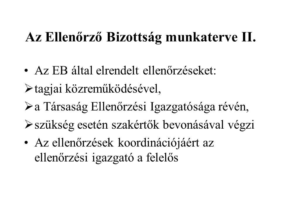 Az Ellenőrző Bizottság munkaterve II.