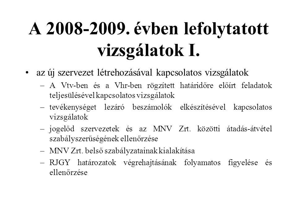 A 2008-2009. évben lefolytatott vizsgálatok I.