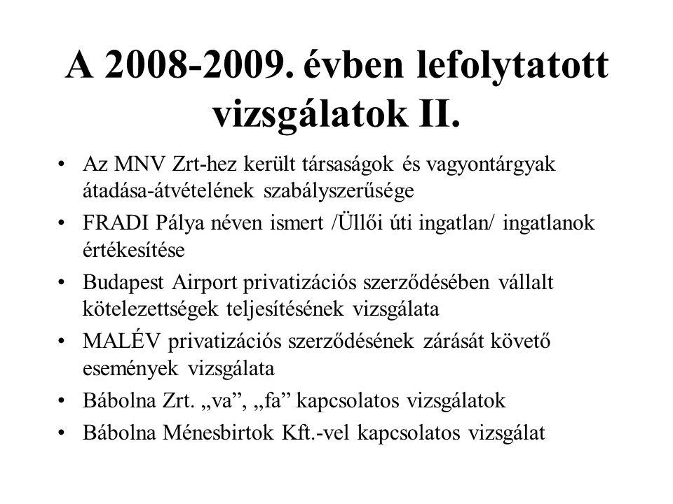 A 2008-2009. évben lefolytatott vizsgálatok II.