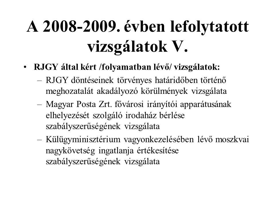 A 2008-2009. évben lefolytatott vizsgálatok V.