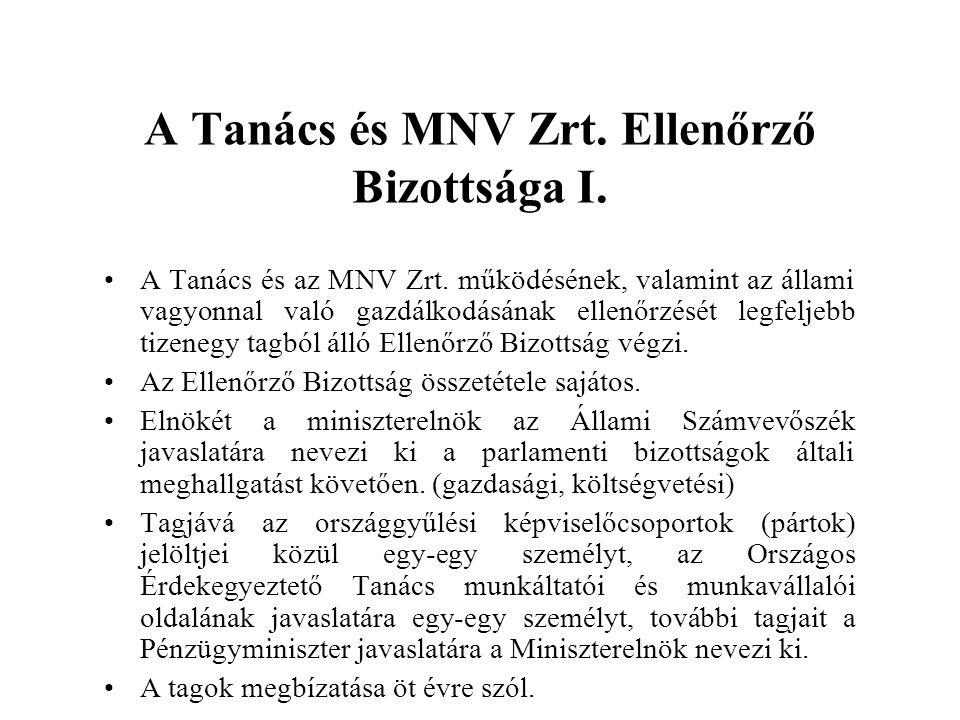 A Tanács és MNV Zrt. Ellenőrző Bizottsága I.