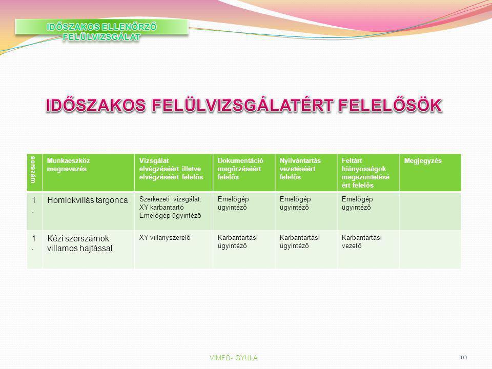 IDŐSZAKOS FELÜLVIZSGÁLATÉRT FELELŐSÖK