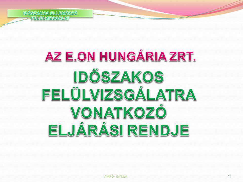 IDŐSZAKOS ELLENŐRZŐ FELÜLVIZSGÁLAT IDŐSZAKOS FELÜLVIZSGÁLATRA