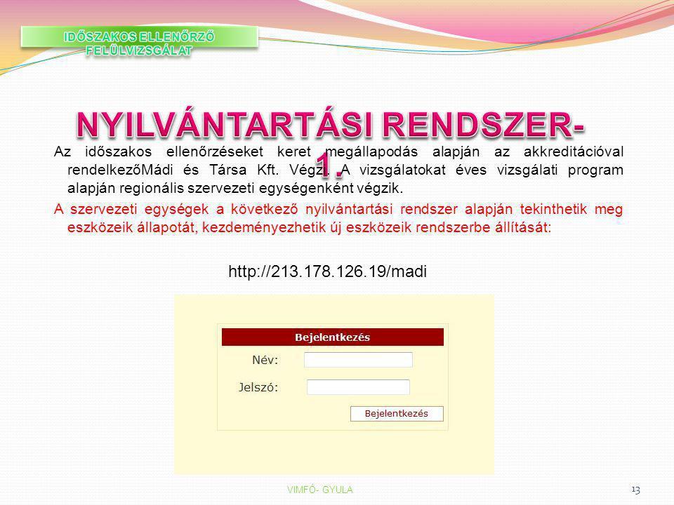 IDŐSZAKOS ELLENŐRZŐ FELÜLVIZSGÁLAT NYILVÁNTARTÁSI RENDSZER-1.