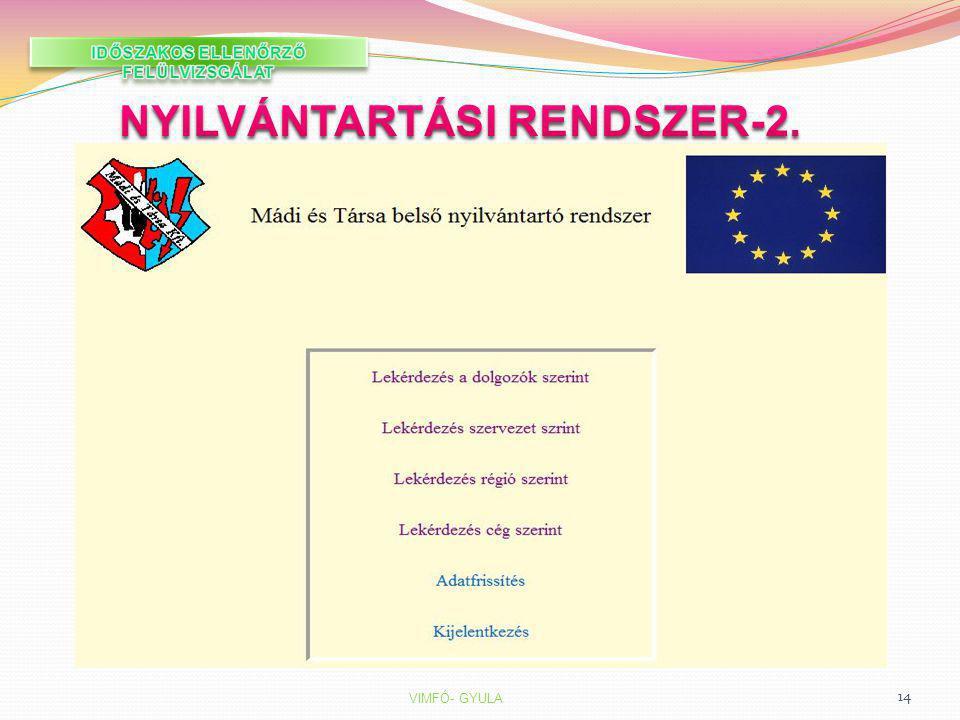 IDŐSZAKOS ELLENŐRZŐ FELÜLVIZSGÁLAT NYILVÁNTARTÁSI RENDSZER-2.