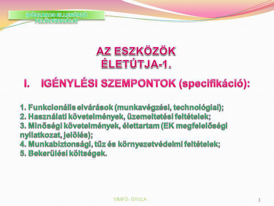 AZ ESZKÖZÖK ÉLETÚTJA-1. IGÉNYLÉSI SZEMPONTOK (specifikáció):