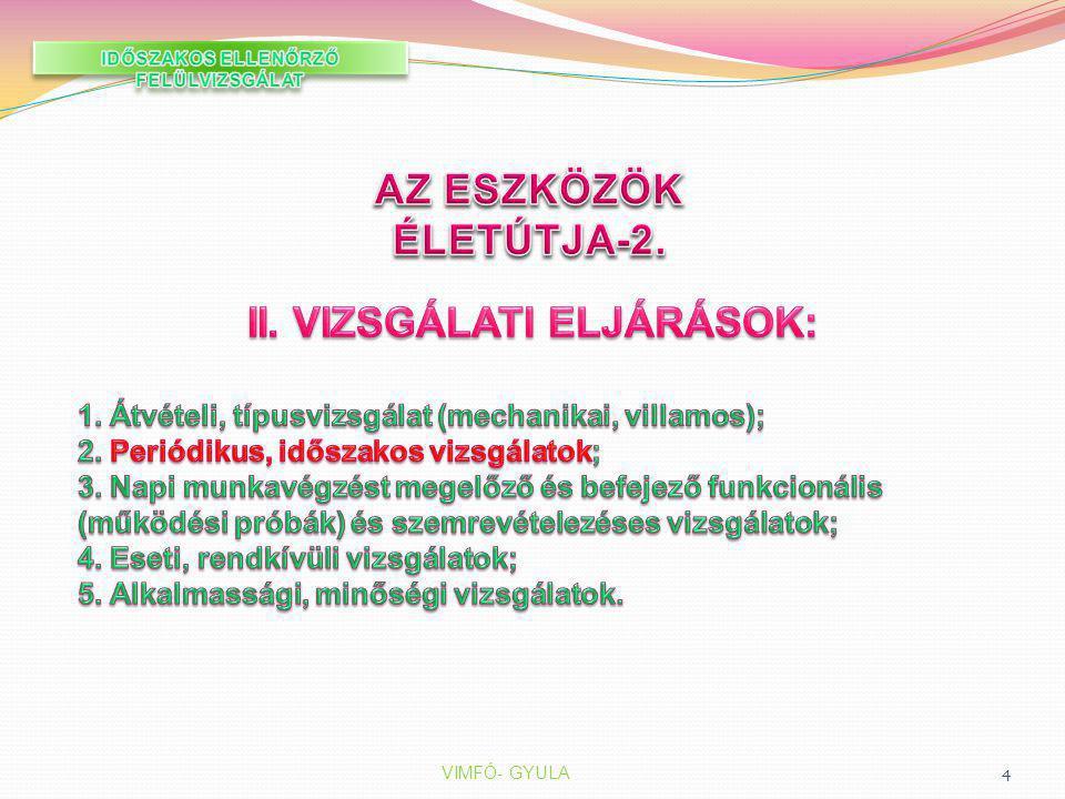 IDŐSZAKOS ELLENŐRZŐ FELÜLVIZSGÁLAT II. VIZSGÁLATI ELJÁRÁSOK:
