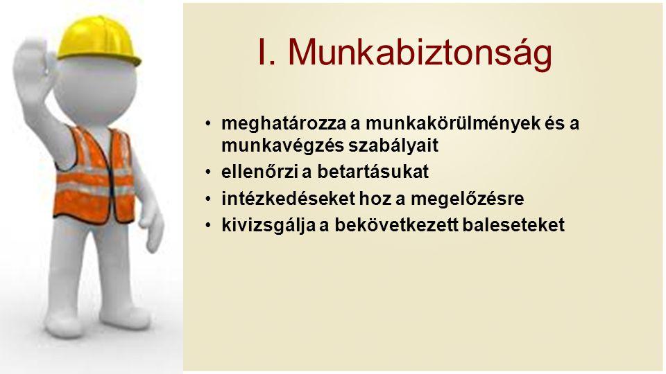 I. Munkabiztonság meghatározza a munkakörülmények és a munkavégzés szabályait. ellenőrzi a betartásukat.
