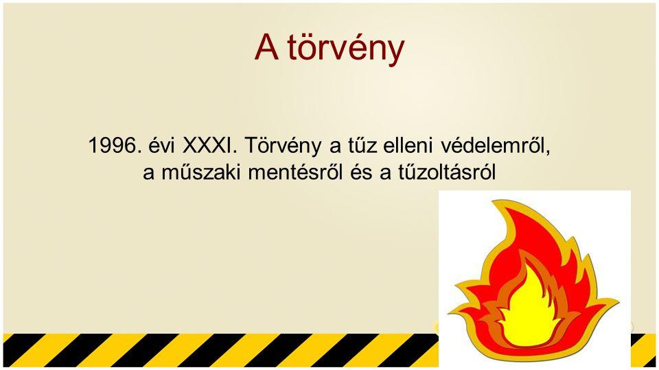 A törvény 1996. évi XXXI. Törvény a tűz elleni védelemről, a műszaki mentésről és a tűzoltásról