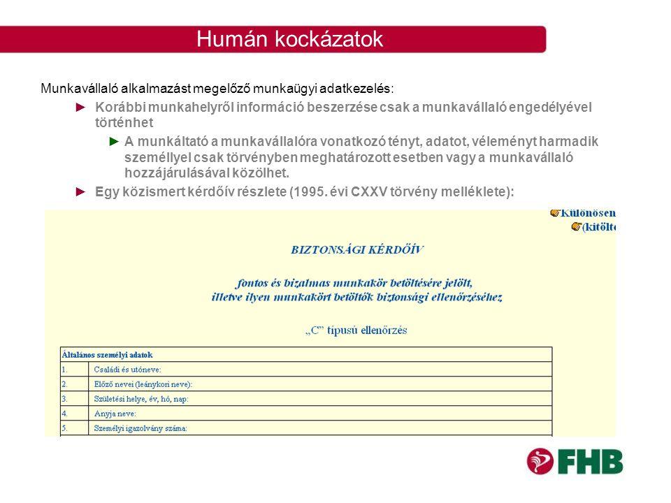 Humán kockázatok Munkavállaló alkalmazást megelőző munkaügyi adatkezelés: