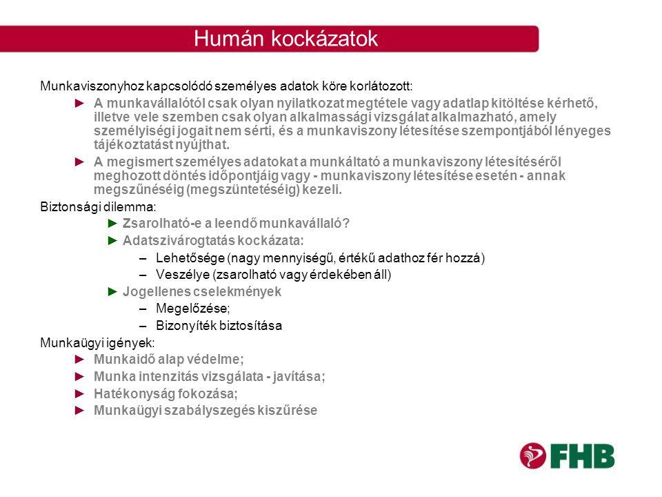 Humán kockázatok Munkaviszonyhoz kapcsolódó személyes adatok köre korlátozott:
