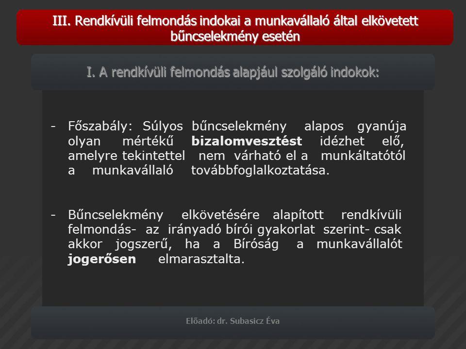 Előadó: dr. Subasicz Éva