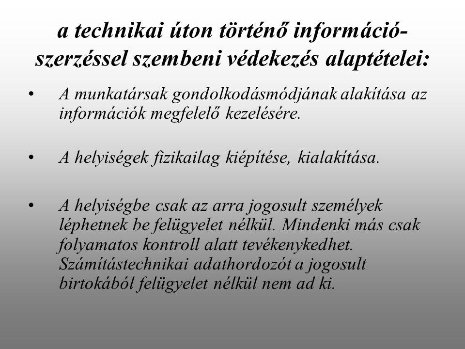 a technikai úton történő információ-szerzéssel szembeni védekezés alaptételei: