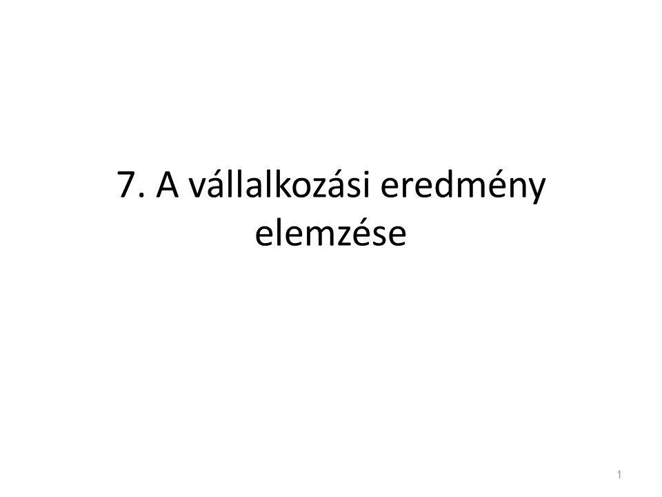 7. A vállalkozási eredmény elemzése