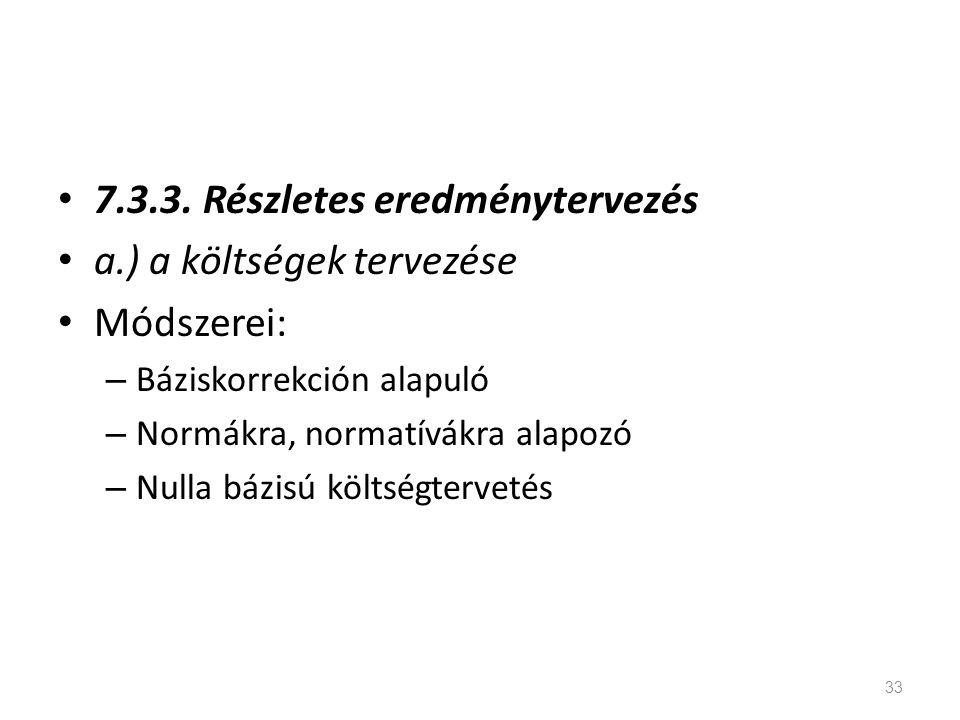 7.3.3. Részletes eredménytervezés a.) a költségek tervezése Módszerei: