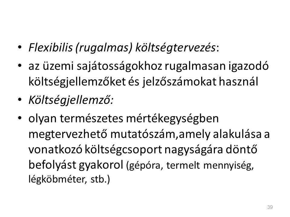 Flexibilis (rugalmas) költségtervezés:
