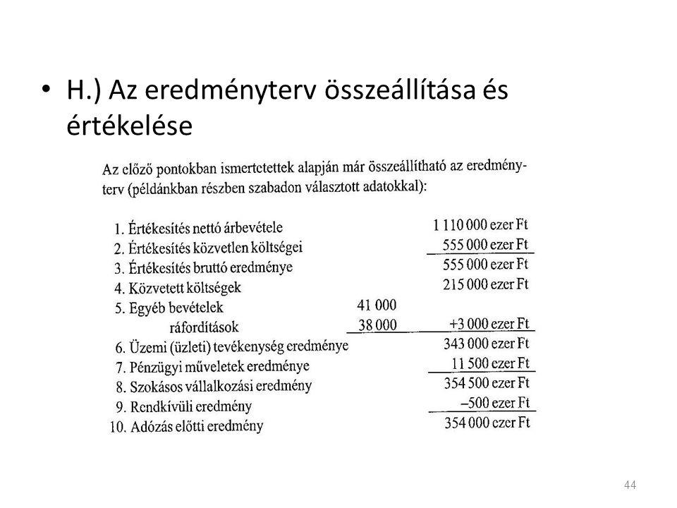 H.) Az eredményterv összeállítása és értékelése