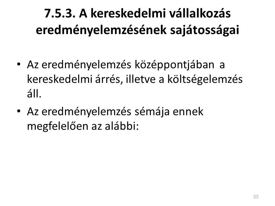 7.5.3. A kereskedelmi vállalkozás eredményelemzésének sajátosságai