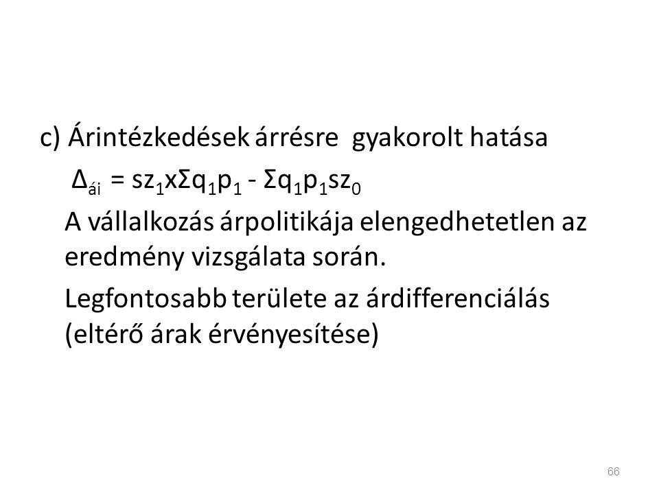 c) Árintézkedések árrésre gyakorolt hatása Δái = sz1xΣq1p1 - Σq1p1sz0 A vállalkozás árpolitikája elengedhetetlen az eredmény vizsgálata során.