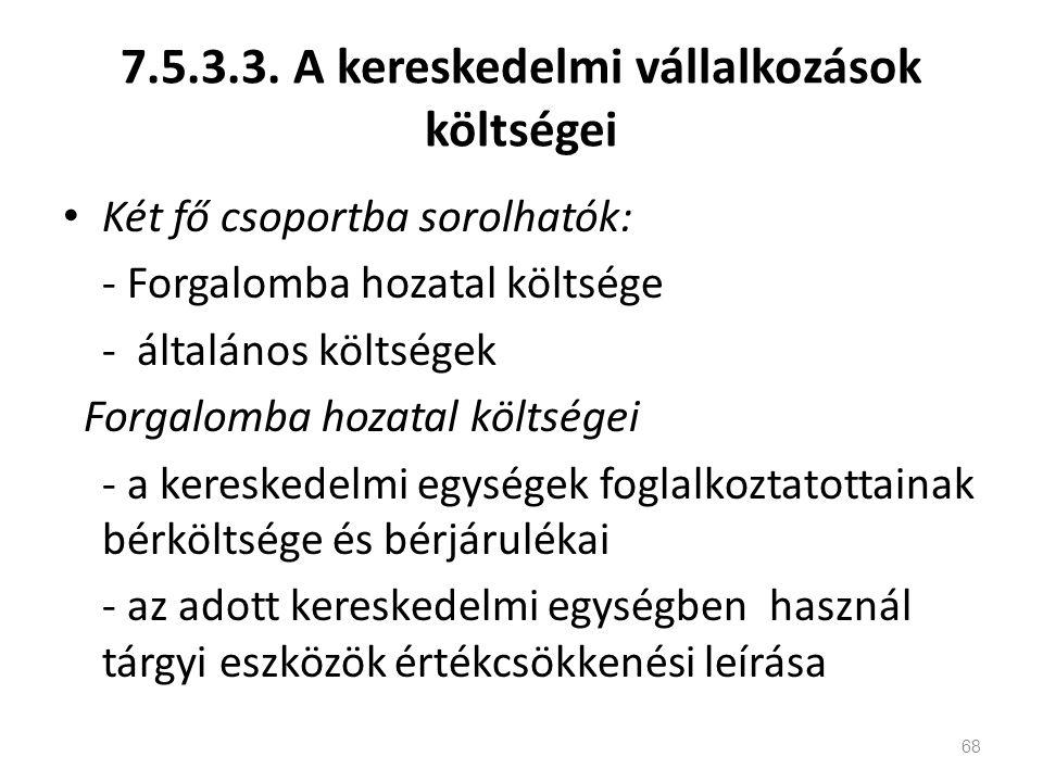 7.5.3.3. A kereskedelmi vállalkozások költségei