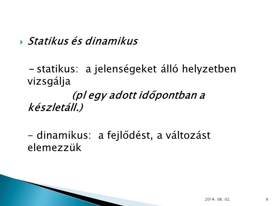 - statikus: a jelenségeket álló helyzetben vizsgálja