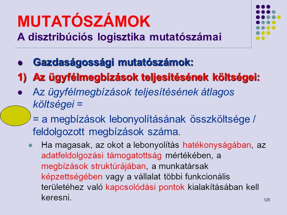 MUTATÓSZÁMOK A disztribúciós logisztika mutatószámai