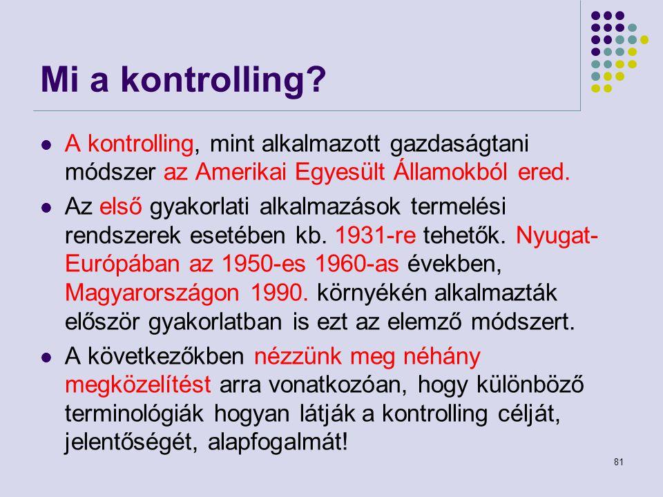 Mi a kontrolling A kontrolling, mint alkalmazott gazdaságtani módszer az Amerikai Egyesült Államokból ered.