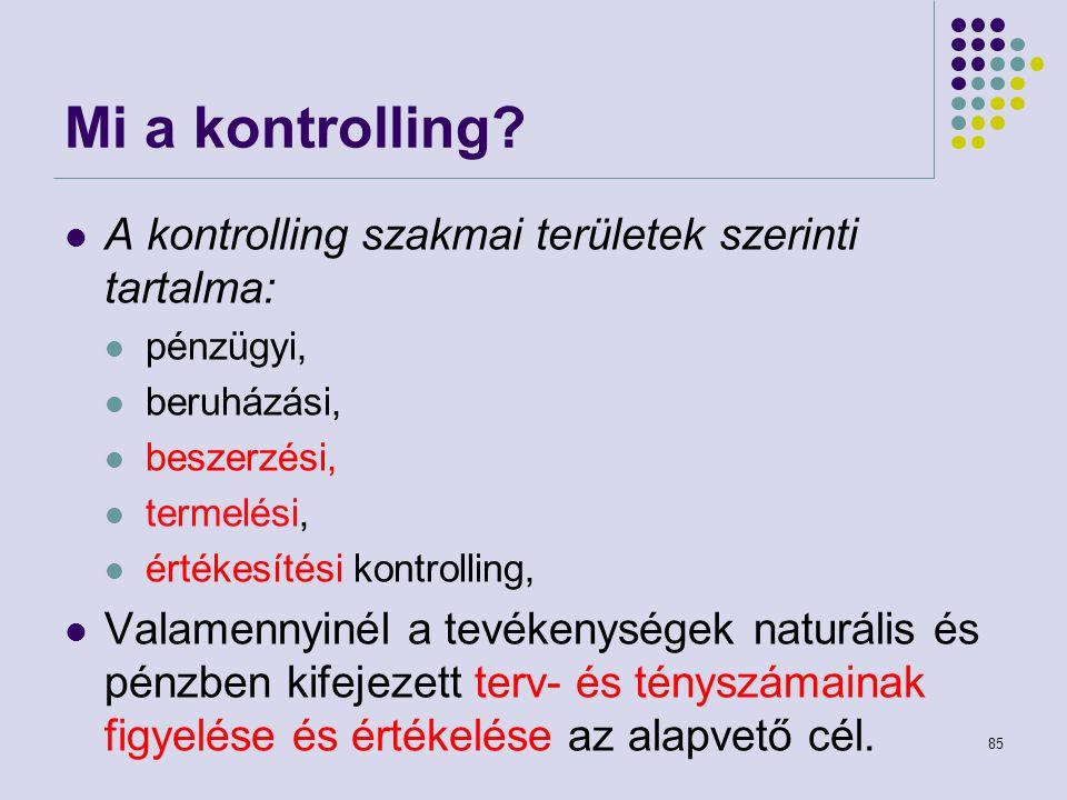 Mi a kontrolling A kontrolling szakmai területek szerinti tartalma: