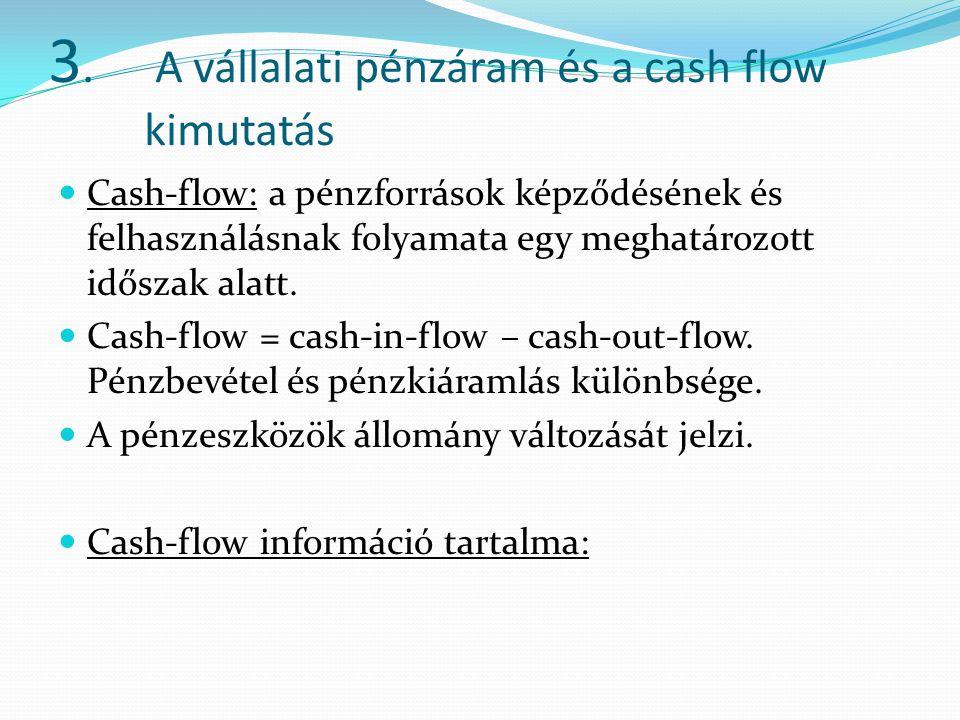 3. A vállalati pénzáram és a cash flow kimutatás