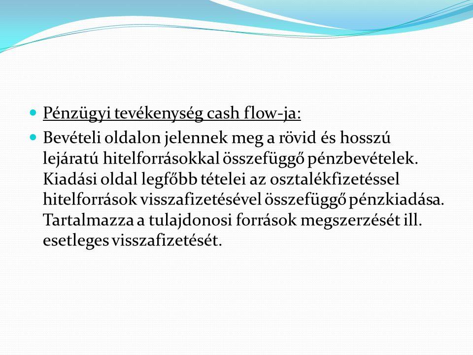Pénzügyi tevékenység cash flow-ja: