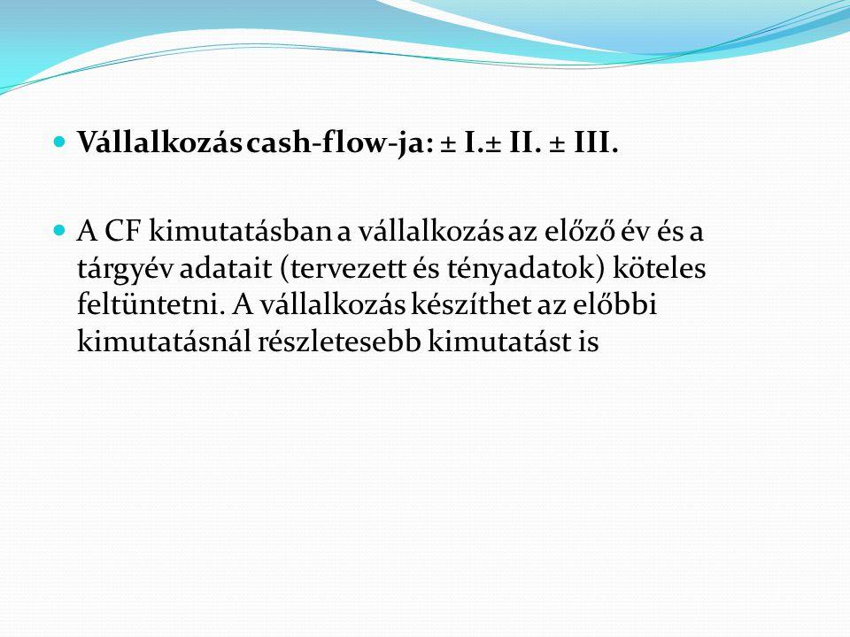 Vállalkozás cash-flow-ja: ± I.± II. ± III.