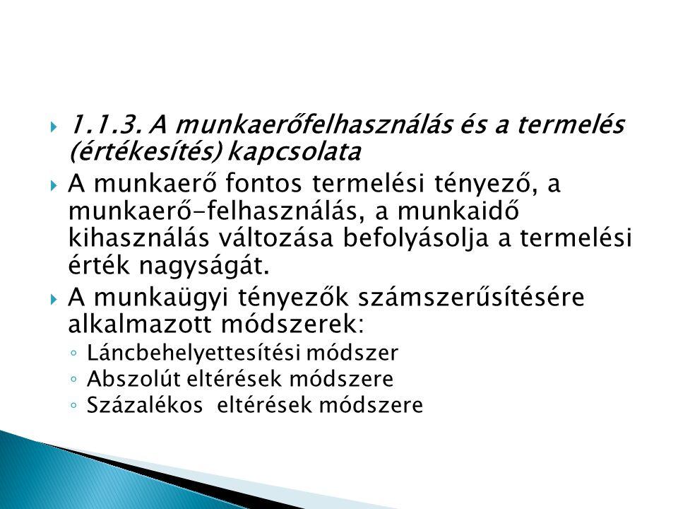 1.1.3. A munkaerőfelhasználás és a termelés (értékesítés) kapcsolata