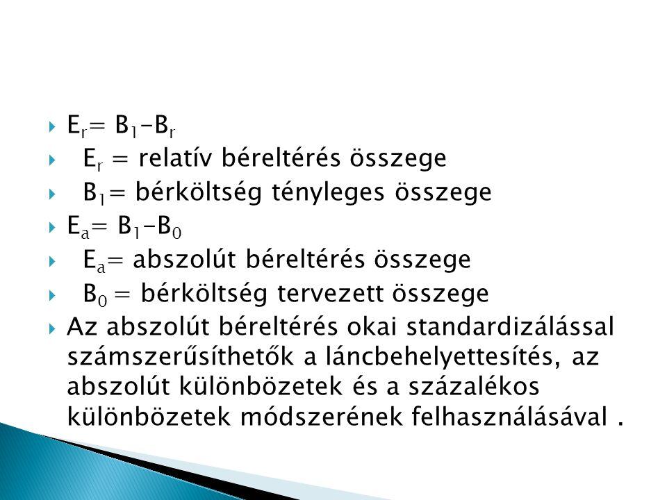 Er= B1-Br Er = relatív béreltérés összege. B1= bérköltség tényleges összege. Ea= B1-B0. Ea= abszolút béreltérés összege.